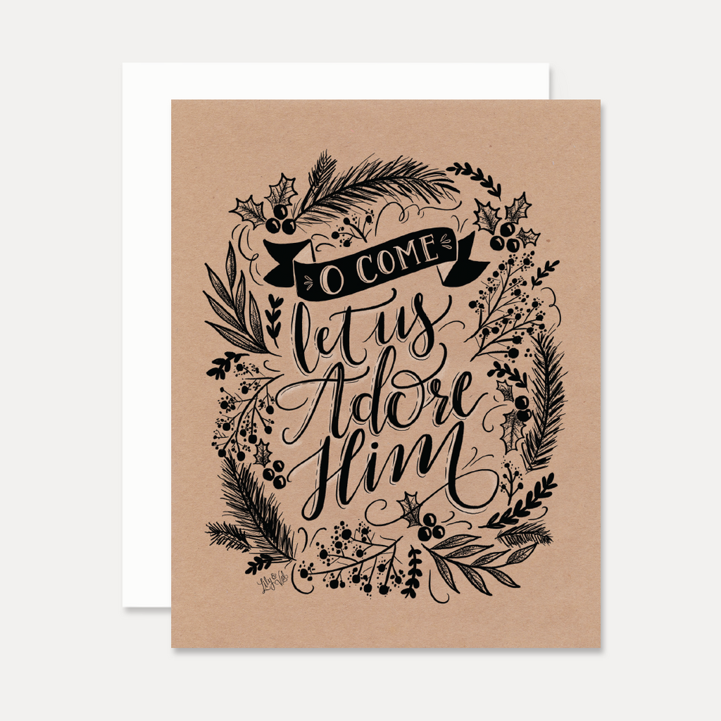 O Come Let Us Adore Him - A2 Note Card