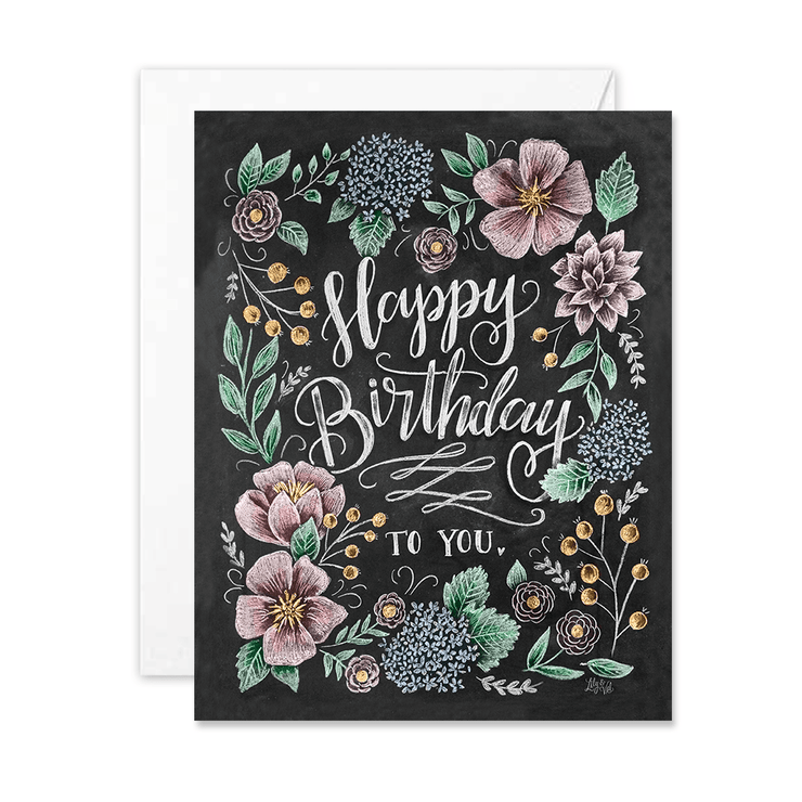 Happy Birthday To You with Flowers - A2 Note Card