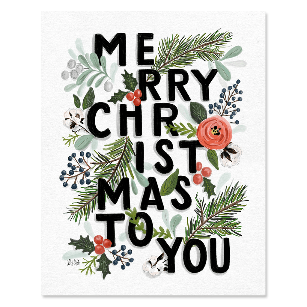 merry christmas typography print canvas