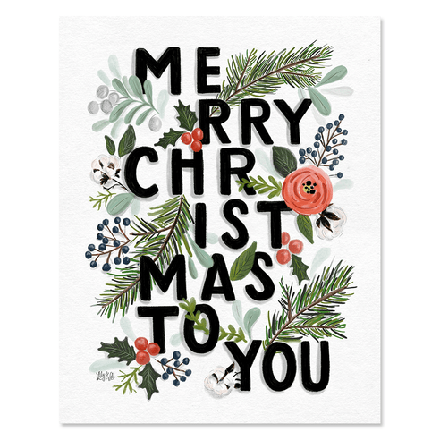 Merry Christmas Typography - Print & Canvas