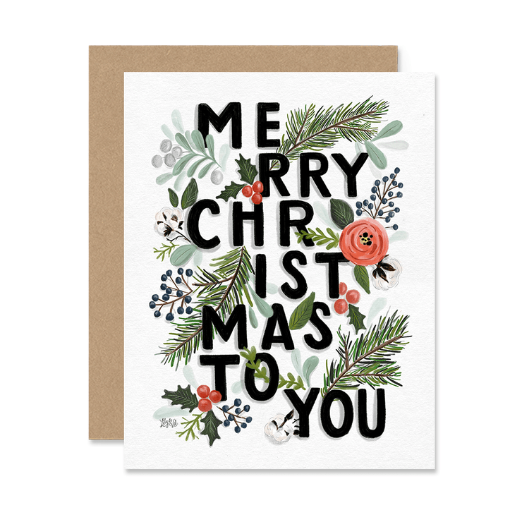 Merry Christmas Typography - A2 Note Card