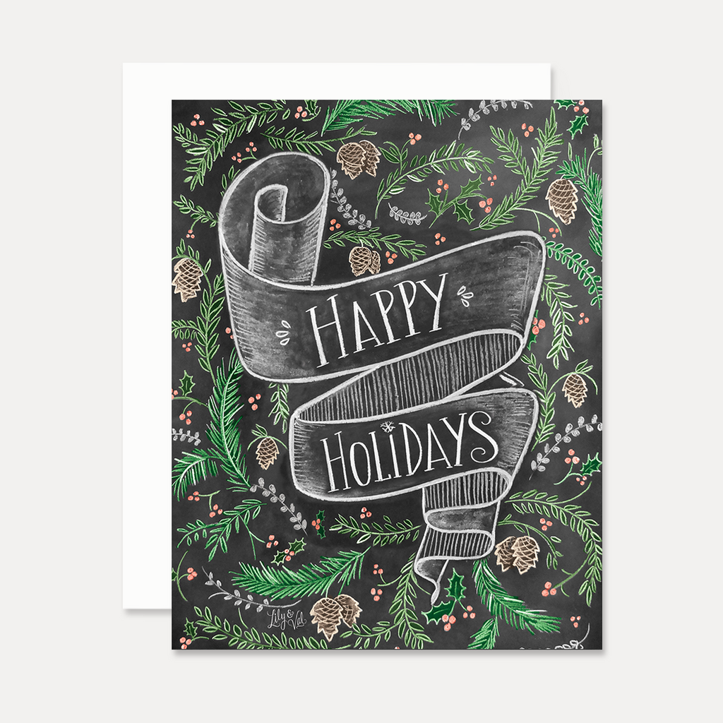 Happy Holidays with Banner - A2 Note Card