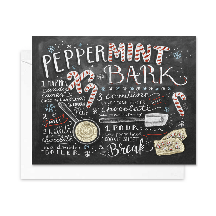 Peppermint Bark Recipe - A2 Note Card
