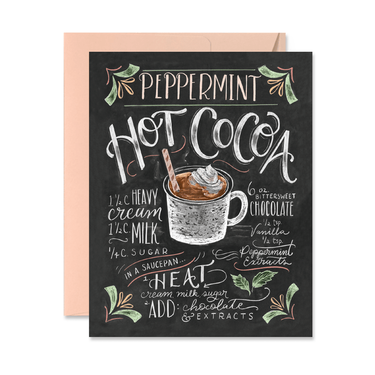 Peppermint Hot Cocoa - A2 Note Card