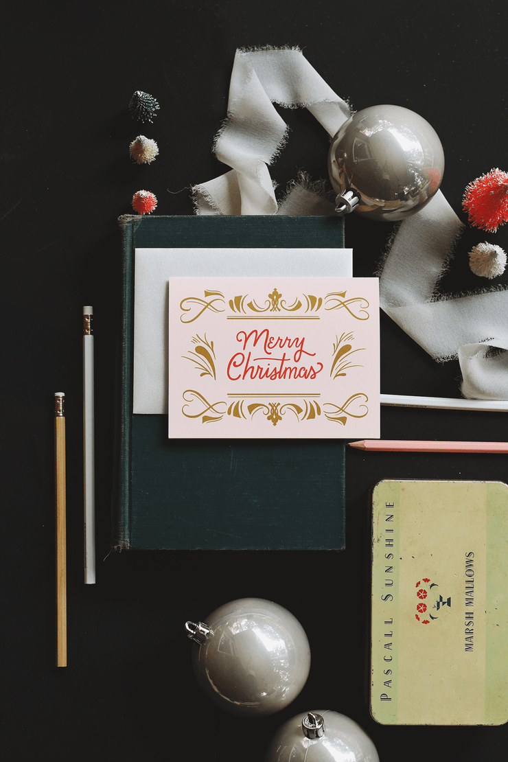 Elegant Retro Merry Christmas - A2 Note Card