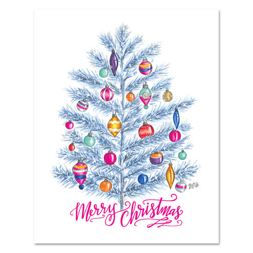 Retro 'Merry Christmas' Tree - Print