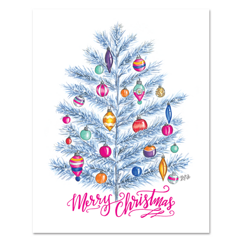 Retro 'Merry Christmas' Tree - Print & Canvas