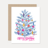 Retro 'Merry Christmas' Tree - A2 Note Card