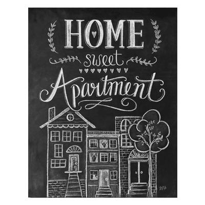 Home Sweet Apartment (black & white) - Print
