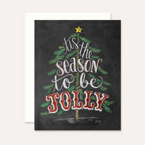 Tis The Season to be Jolly with Tree - A2 Note Card