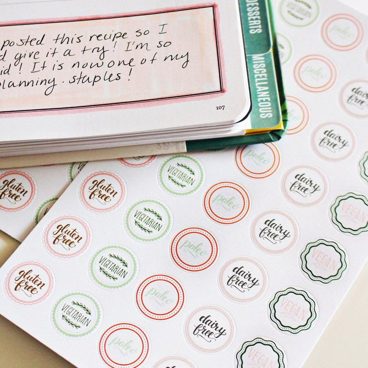 Dietary Restrictions Stickers - Pinks & Greens
