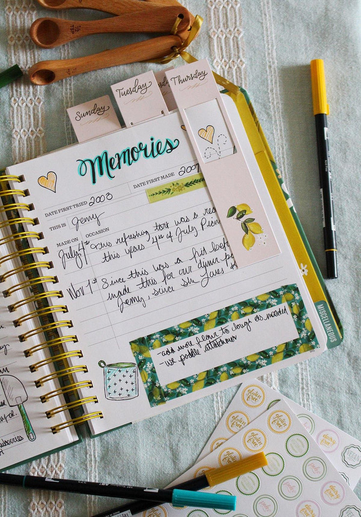 Weekly Meal Planning Bookmarks - Lemons