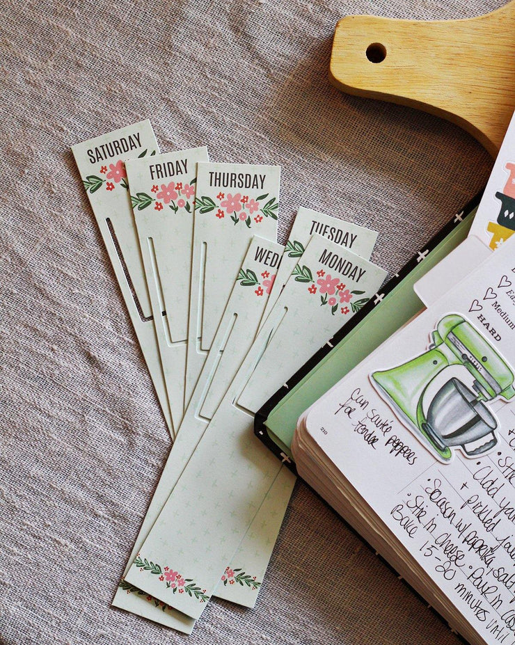 Weekly Meal Planning Bookmarks - Floral