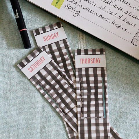 Weekly Meal Planning Bookmarks - Gingham