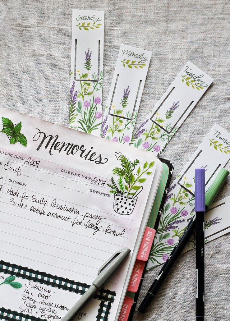 Weekly Meal Planning Bookmarks - Lavender Herbs