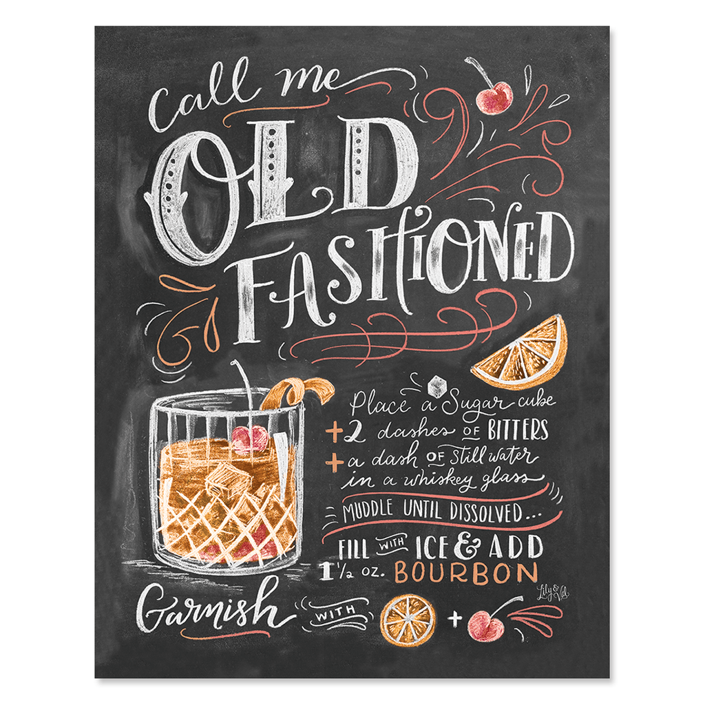 Lily Val Call Me Old Fashioned Recipe Chalkboard Art Print