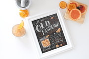 Old Fashioned cocktail chalk art drawing by Valerie McKeehan