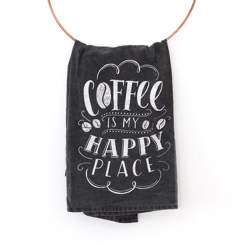 Coffee Is My Happy Place - Cotton Tea Towel