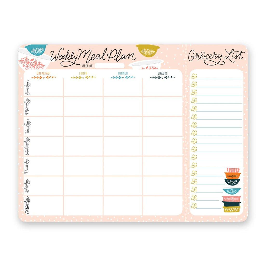Vintage Bowls Meal Planner Pad & Grocery List