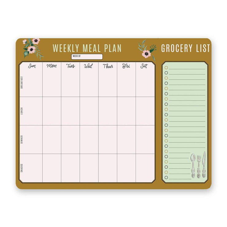 Classic Gold Meal Planner Pad & Grocery List