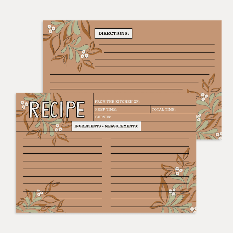 Fall Floral Recipe Card Pack