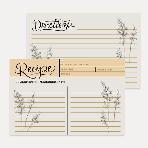 Fall Botanical Recipe Card Pack