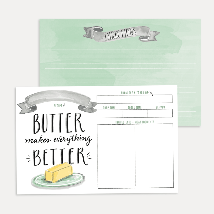 Butter Makes Everything Better Recipe Card - blank recipe card