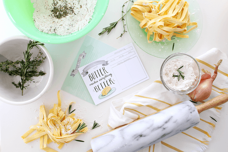 Hand-illustrated butter recipe cards for your summer kitchen