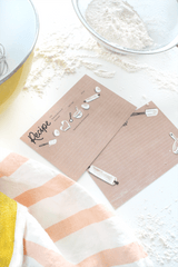 Hand-illustrated kraft paper flour recipe cards for your summer kitchen