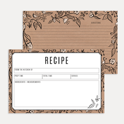 Floral Kraft Paper Recipe Card Pack
