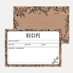 Hand-drawn floral kraft paper cards for your favorite recipes