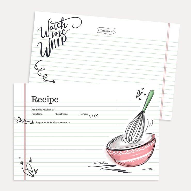 Hand-drawn mixing bowl art recipe cards by Valerie McKeehan