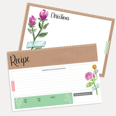 Floral Kitchen Scrapbook Recipe Card Pack