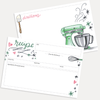 Hand-illustrated blank recipe cards with stand mixer