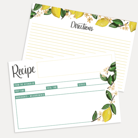 Whimsical Lemons Recipe Card Pack