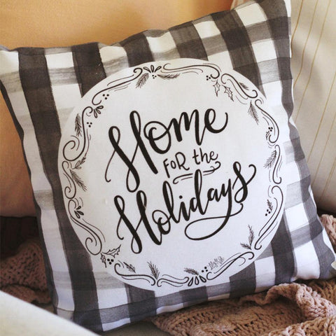 Home For The Holidays Handmade Pillow