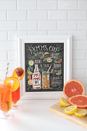 Hand-illustrated Pimm's Cup recipe for your bar cart decor