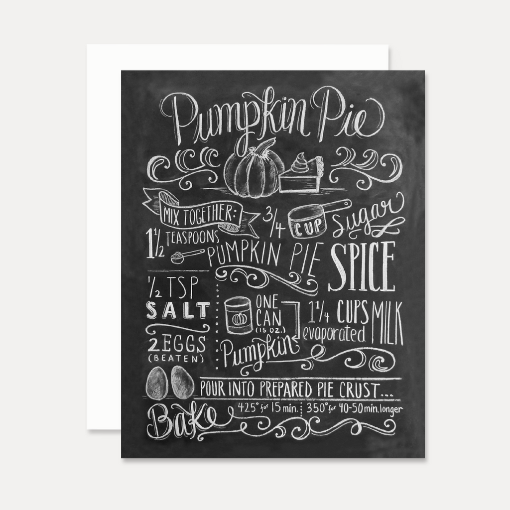 Pumpkin Pie Recipe - A2 Note Card