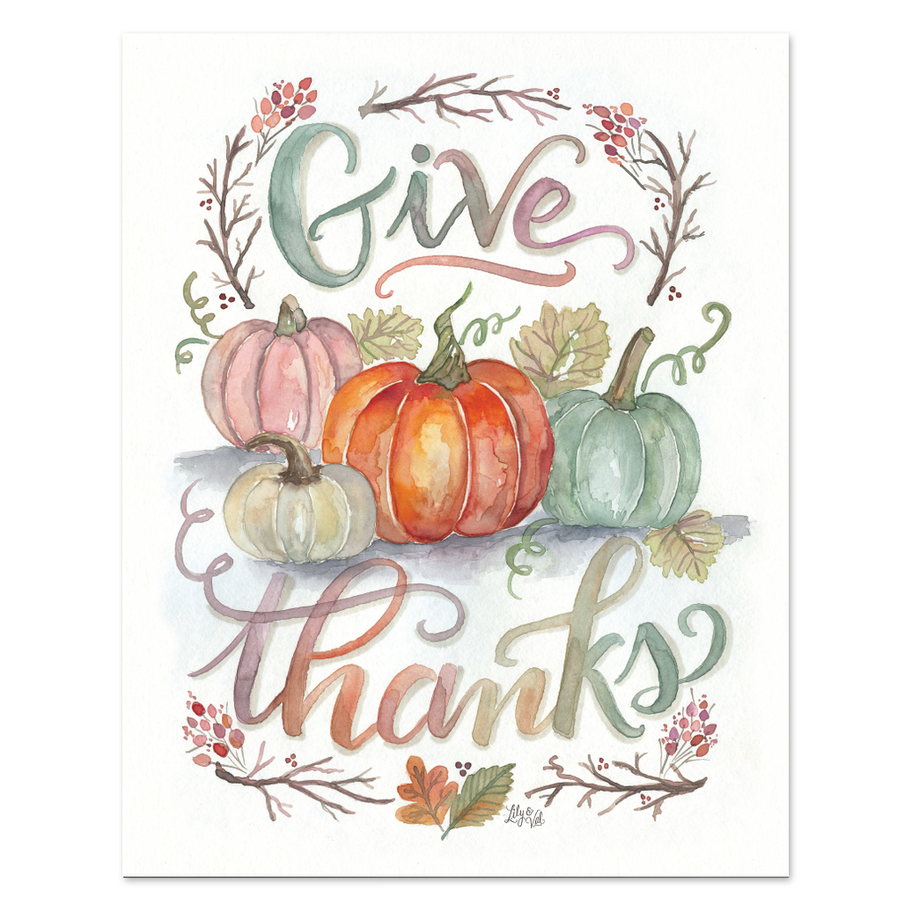 Give Thanks - Watercolor Print