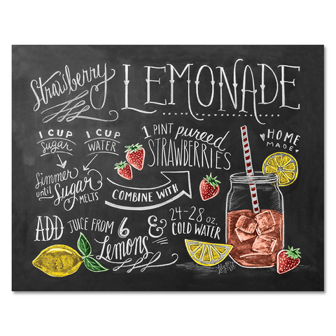 Strawberry Lemonade Recipe - Print & Canvas