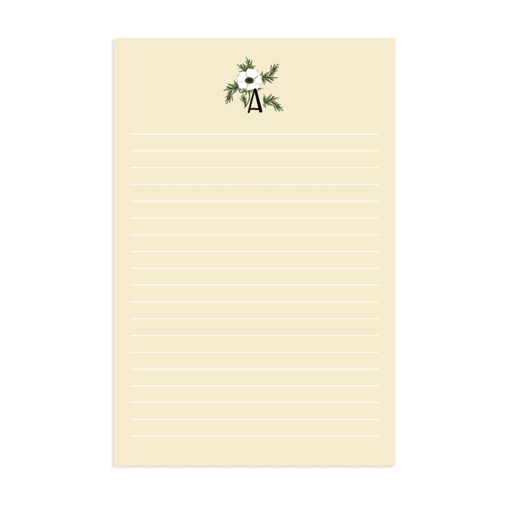 Ivory Floral Monogram - Stationery Sheet Download