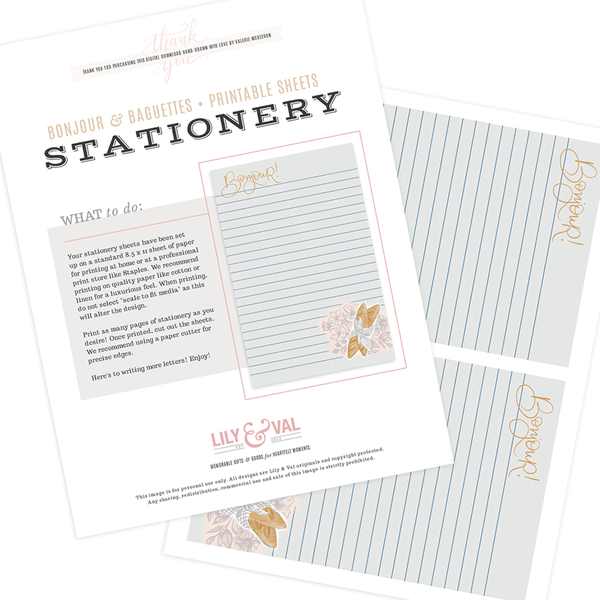 Bonjour & Baguettes - Stationery Sheet Download | Lily & Val