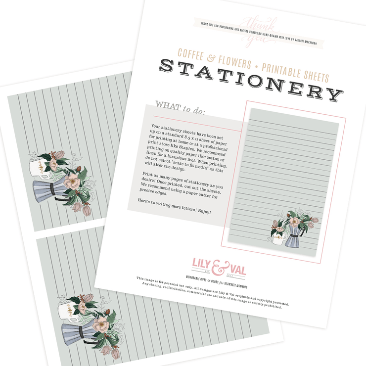 Coffee & Flowers - Stationery Sheet Download
