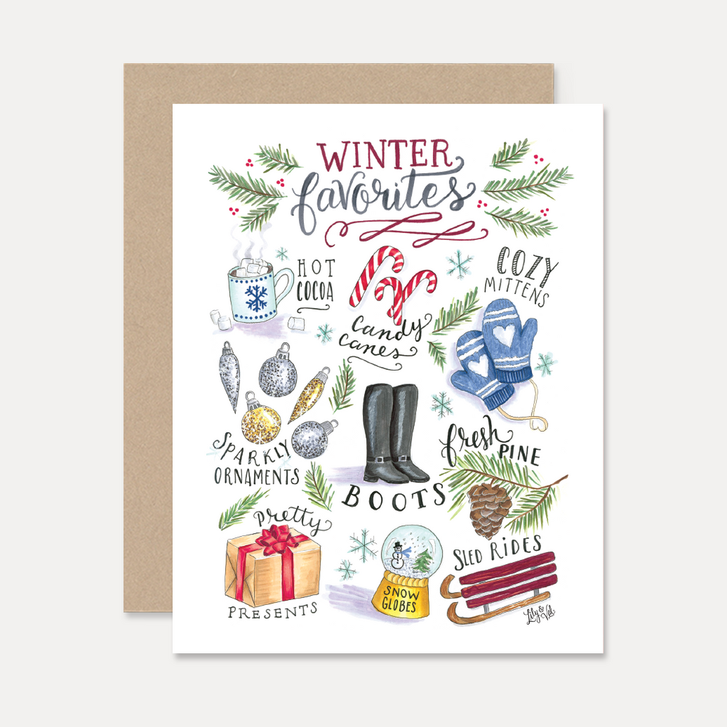 Lily val christmas card winter favorites card winter winter favorites a2 note card m4hsunfo