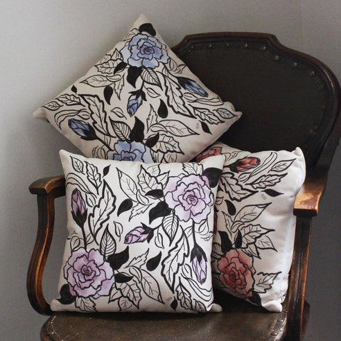 Bold Floral Handmade Pillow - 3 Color Options