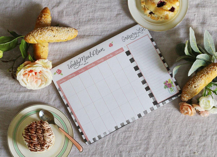 Farmhouse Gingham Meal Planner Pad & Grocery List