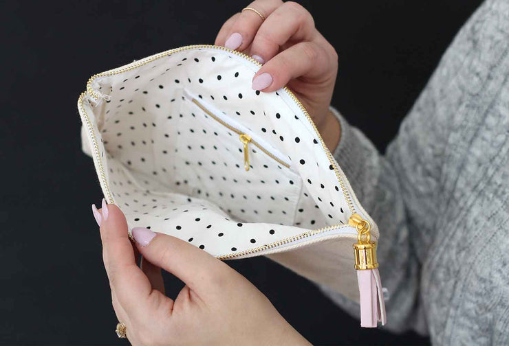 lined make-up bags with zipper