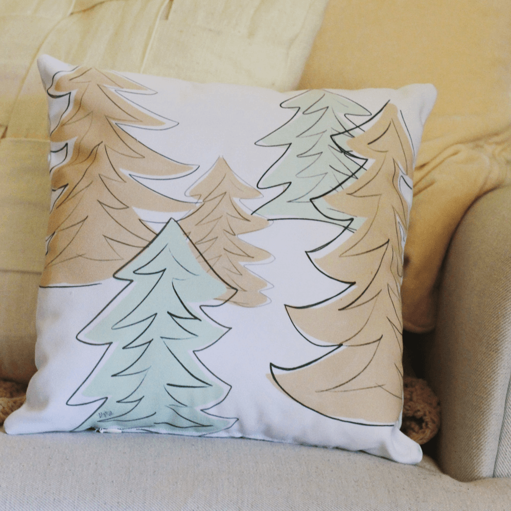 Retro Trees Handmade Pillow