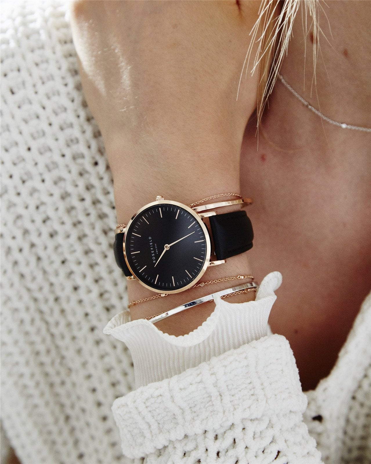 The Bowery Black Black Rose Gold Rosefield Official
