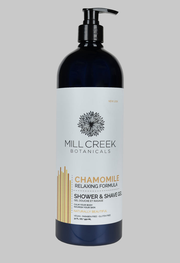 Value Size Chamomile Shower & Shave Gel 32 oz (NEW LOOK) - Mill Creek Botanicals